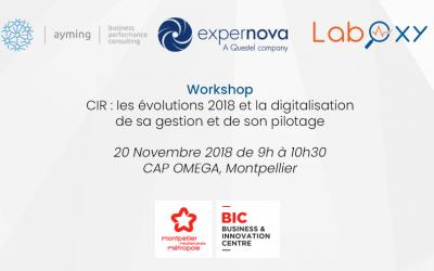 Workshop CIR avec Ayming et Expernova le mardi 20 novembre au BIC Montpellier